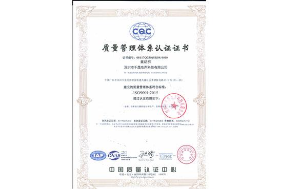 ISO9001质量认证中文